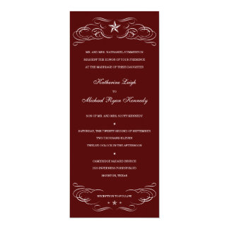 Maroon Texas Lone Star Wedding Invitations