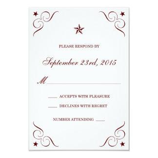 Maroon Texas Lone Star Wedding RSVP Cards