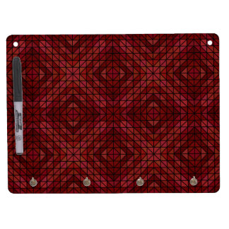 Maroon triangle mosaic dry erase board with keychain holder