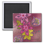 Maroon Tulips Magnet (square)