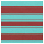 [ Thumbnail: Maroon & Turquoise Pattern of Stripes Fabric ]