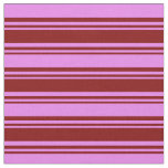 [ Thumbnail: Maroon & Violet Colored Striped Pattern Fabric ]