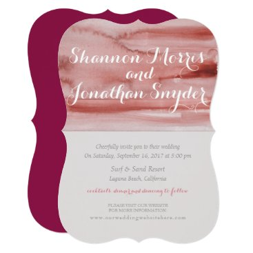 Beach Themed Maroon Watercolor Wedding Invitation Calligraphy