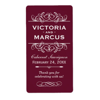 Maroon Wedding Wine Bottle Monogram Favor Labels