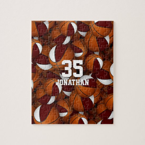 maroon white basketball boys girls team colors jigsaw puzzle