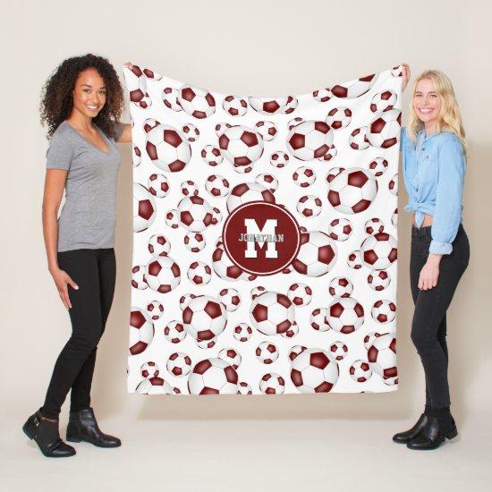 maroon white boys girls soccer room decor fleece blanket