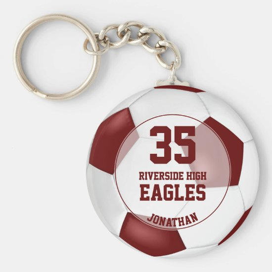 maroon white boys' soccer school team colors keychain