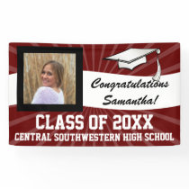 Maroon White Custom Photo Graduation Sign