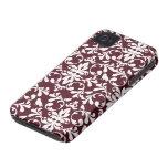 Maroon white damask stylish pattern iphone 4 case