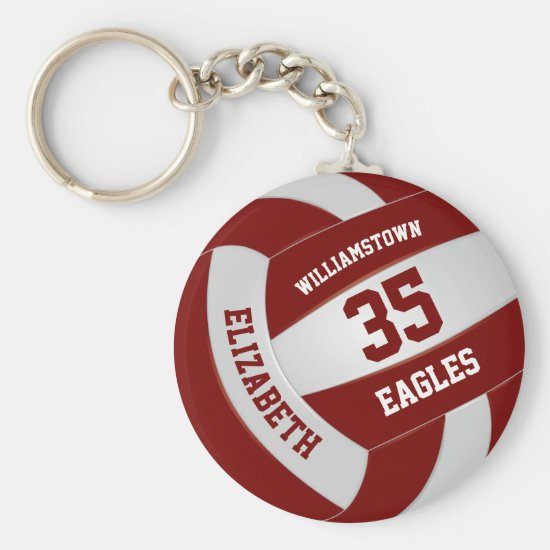maroon white girls boys team colors volleyball keychain