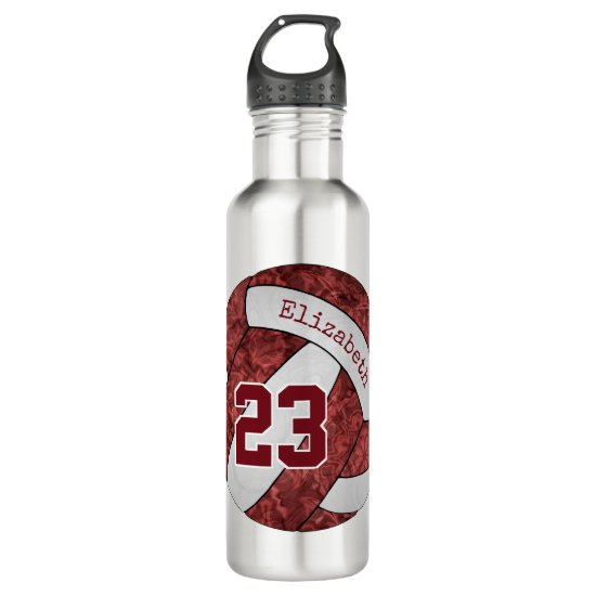 Maroon white girls' volleyball custom team colors stainless steel water bottle