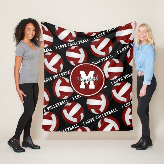 maroon white girly I love volleyball text pattern Fleece Blanket