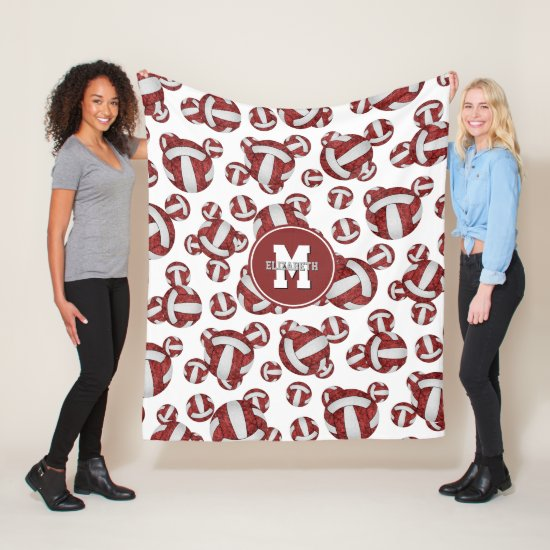 maroon white girly school team colors volleyball fleece blanket