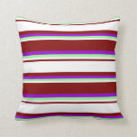 [ Thumbnail: Maroon, White, Green, and Dark Violet Colored Throw Pillow ]