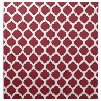 Maroon & White Moroccan Pattern Printed Napkins