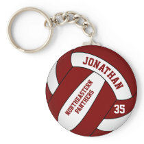 maroon white personalized boys' volleyball keychain