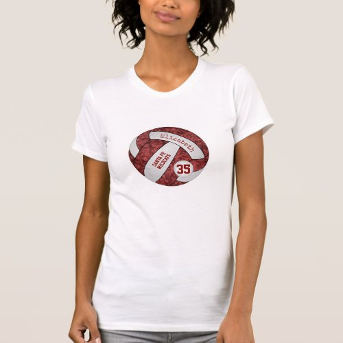 maroon white personalized girls volleyball T_Shirt