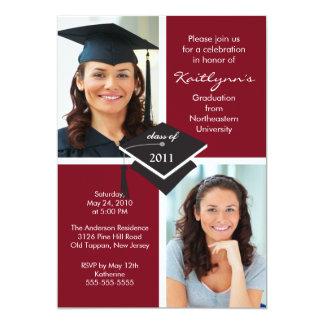 Maroon & White Photo Graduation Invitation