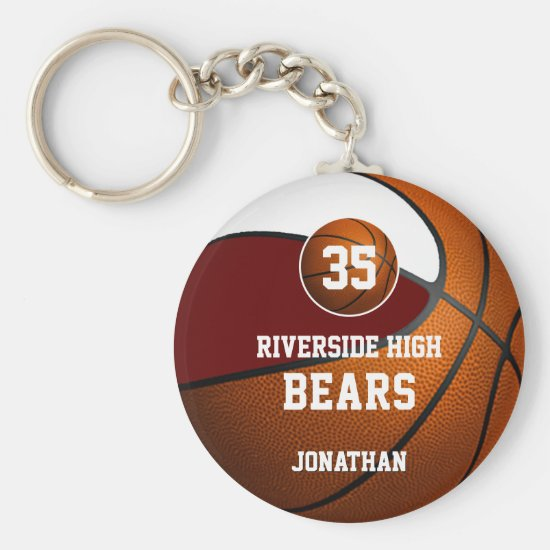 Maroon white school colors boys' basketball team keychain