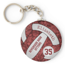 Maroon white school colors custom name volleyball keychain