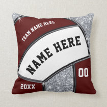Maroon, White, Silver Volleyball Team Gift Ideas Throw Pillow