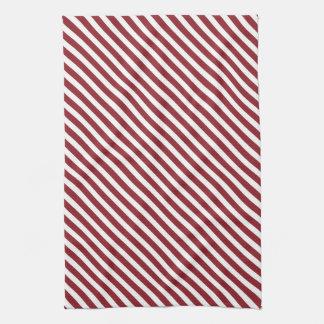Maroon & White Striped Pattern Towels