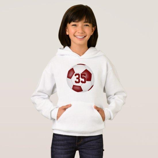 maroon white team colors jersey number soccer hoodie