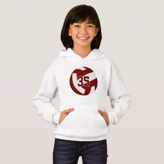 maroon white team colors jersey number volleyball hoodie