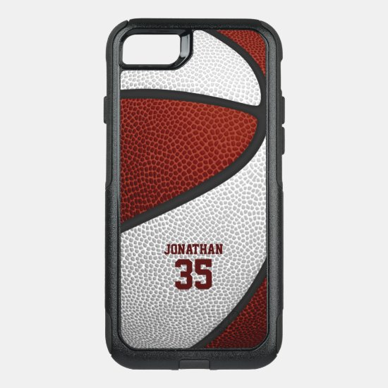 maroon white team colors personalized basketball OtterBox commuter iPhone SE/8/7 case