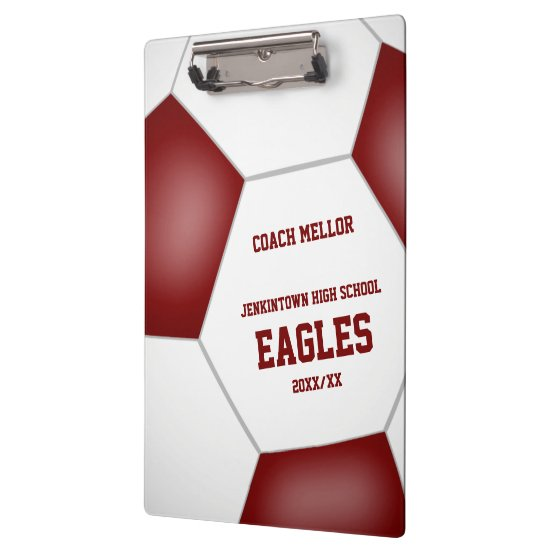 maroon white team colors personalized soccer coach clipboard