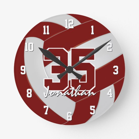 maroon white team colors players name volleyball round clock