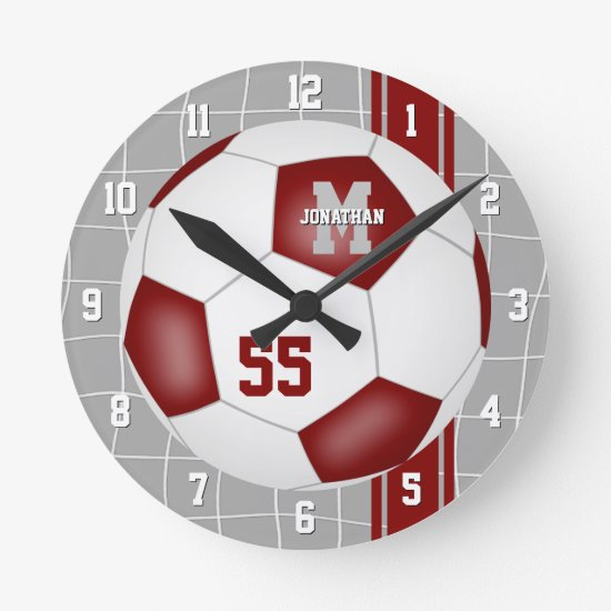 maroon white team colors varsity stripes soccer round clock