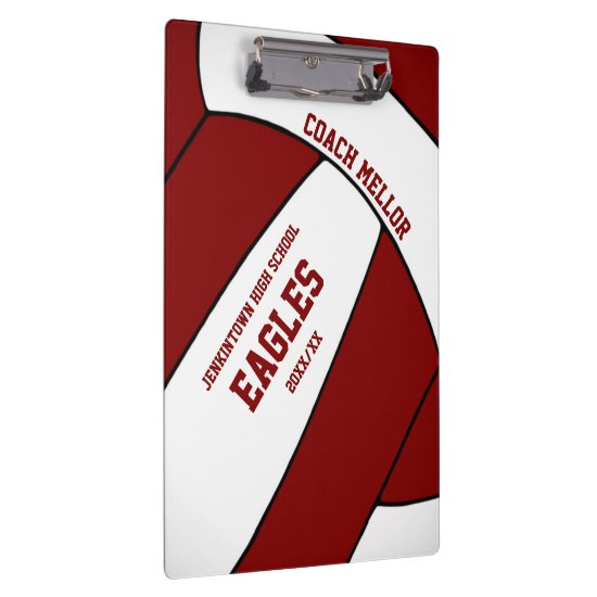 maroon white team colors volleyball coach clipboard