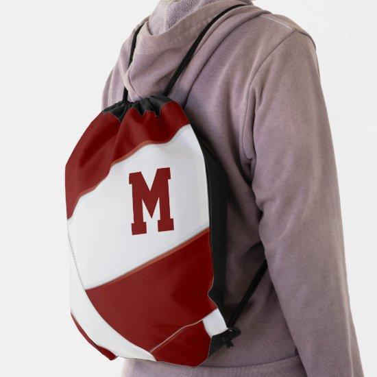 maroon white volleyball girl boy school colors drawstring bag
