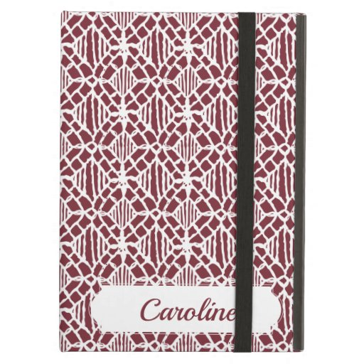 Maroon With White Crochet Lace Pattern Case For iPad Air