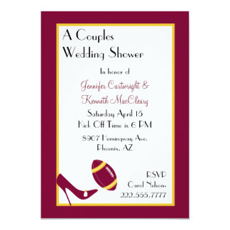 Maroon & Yellow Football Couples Shower 5x7 Paper Invitation Card