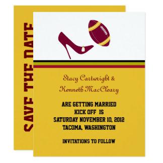 Maroon & Yellow Football Wedding Save The Date Card