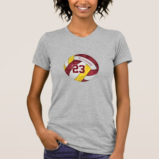 maroon yellow her custom name on volleyball T-Shirt