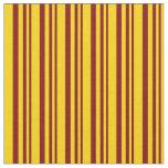 [ Thumbnail: Maroon & Yellow Lines Fabric ]