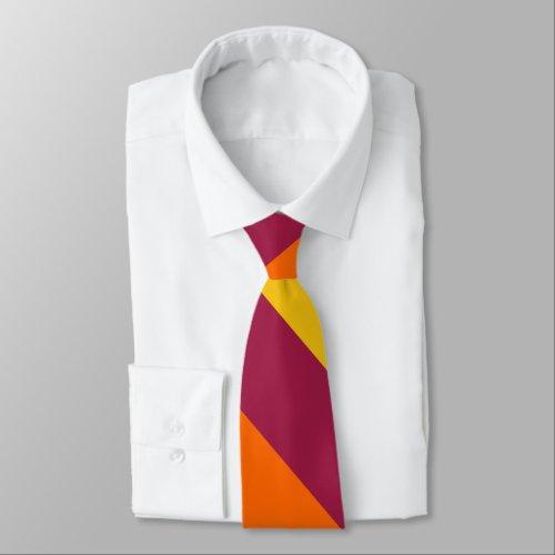 Maroon Yellow & Orange Broad University Stripe Tie