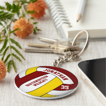 maroon yellow personalized boys' volleyball keychain