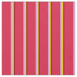 [ Thumbnail: Maroon, Yellow, Plum, and Crimson Colored Stripes Fabric ]
