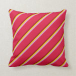 [ Thumbnail: Maroon, Yellow, Plum, and Crimson Colored Stripes Throw Pillow ]