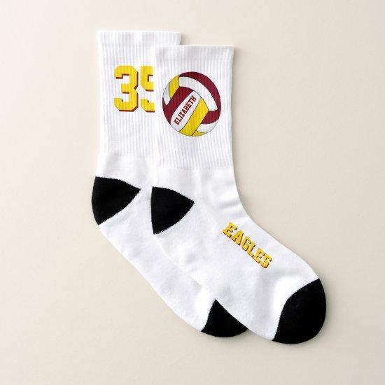 maroon yellow team colors fun girls volleyball socks