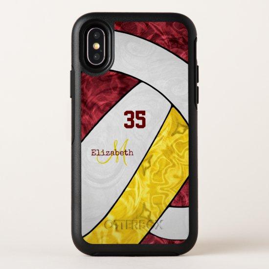 maroon yellow white team spirit girls' volleyball OtterBox symmetry iPhone x case