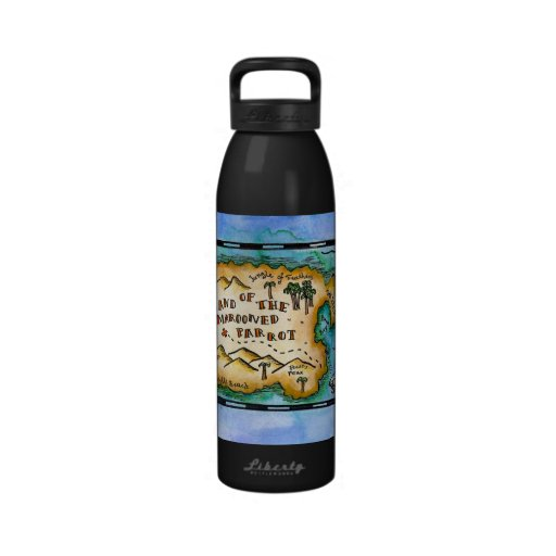 Marooned Parrot Treasure Map Water Bottle