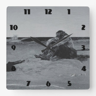 Marooned Pirate Square Wall Clock