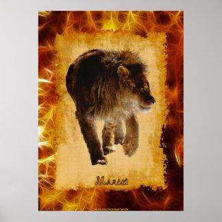 Marozi Lion African-themed Wildlife Art Poster