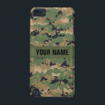"MarPat Digital Woodland Camo #2 Personalized iPod Touch 5G Cover<br><div class=""desc"">iPod Touch 5G &#39;Barely There&#39; MarPat Digital Woodland Camouflage case... Digital Camo is all the rage now, just be careful where you put your phone - you might never see it again! This version of the design has a name tape added around the center, edit the text in the &#39;Personalize...</div>"