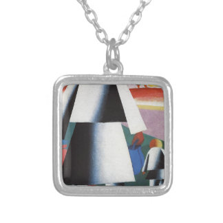 Marpha and Van'ka by Kazimir Malevich Silver Plated Necklace